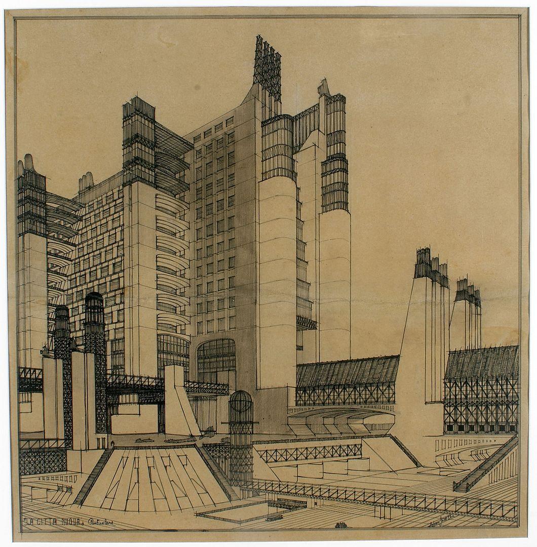 异日主义修建师安东尼奥·圣埃利亚(Antonio Sant'Elia)所作的异日主义修建构想图