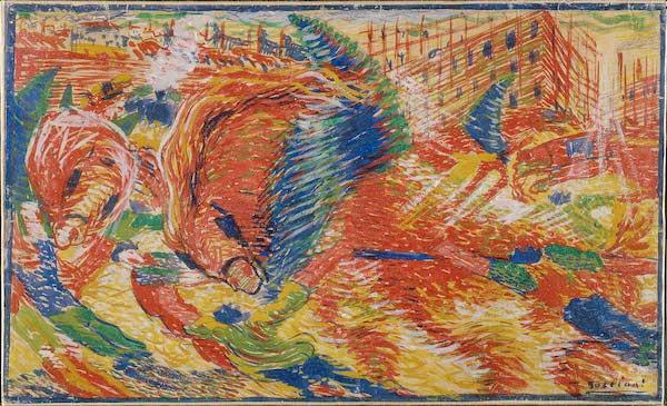 异日主义画家翁贝托·博西奥尼(Umberto Boccioni)《城市兴首》素描