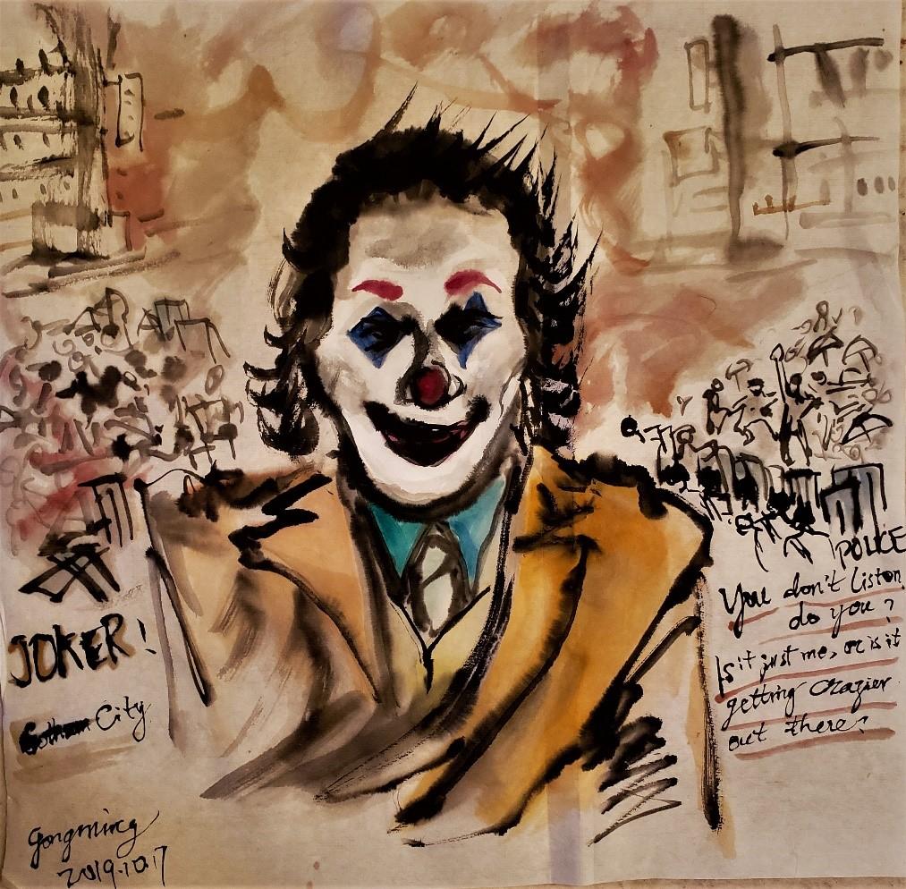 电影《小丑》  中国画  2019年10月17日 作于洛杉矶