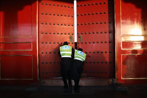 故宫博物院下班时的封门