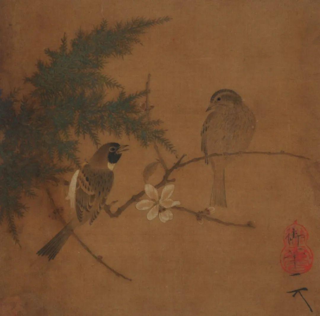 北宋·赵佶腊梅双禽图页四川博物院藏