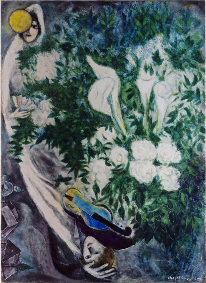 夏加尔《月亮花束与白色海芋》