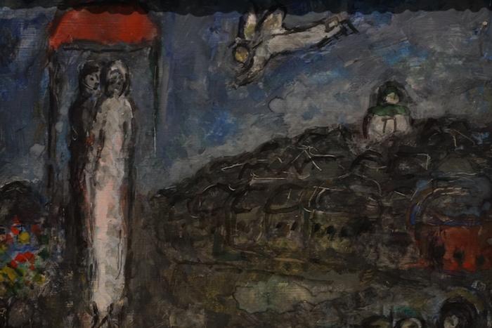 夏加尔《新娘新郎和天使1981》局部