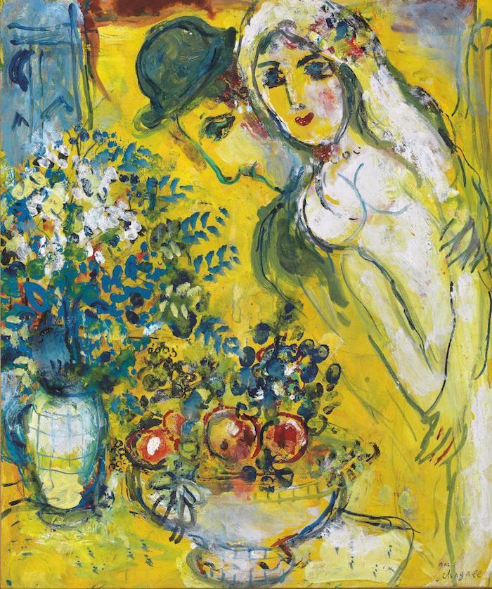 夏加尔 《黄色背景上的恋人》