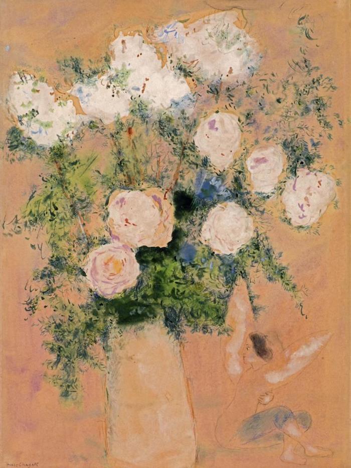 夏加尔《玫瑰花束》