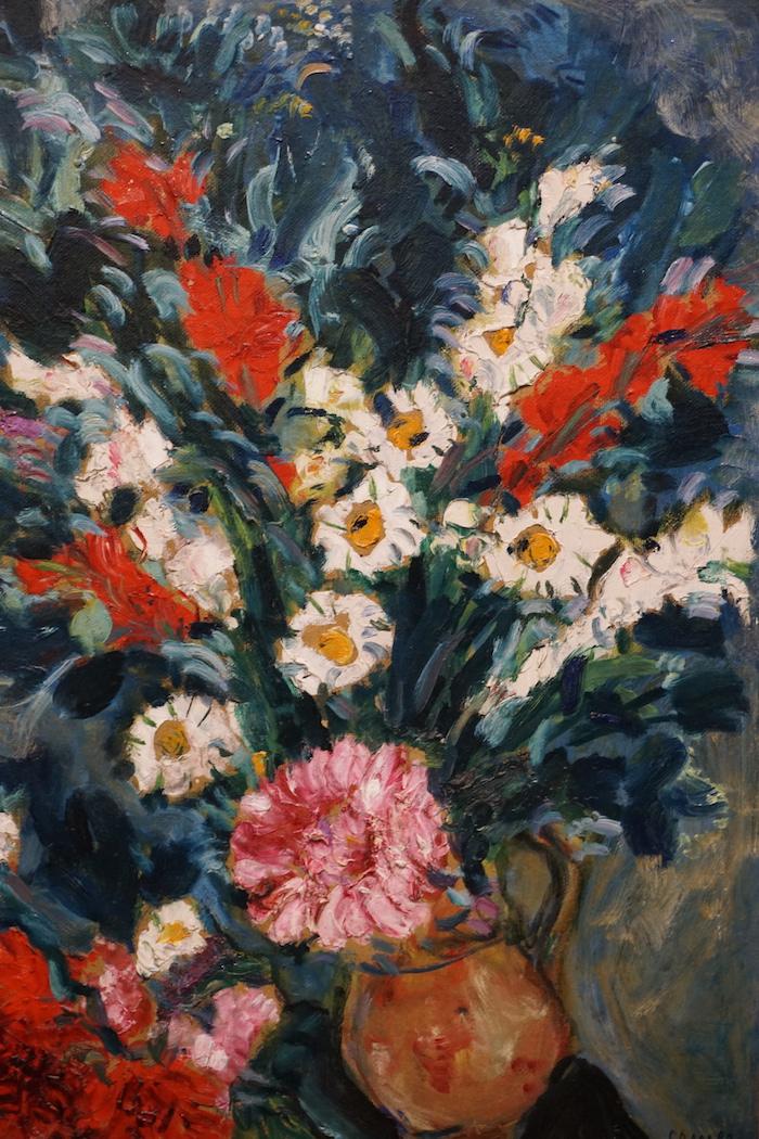 夏加尔《恋人与花束》