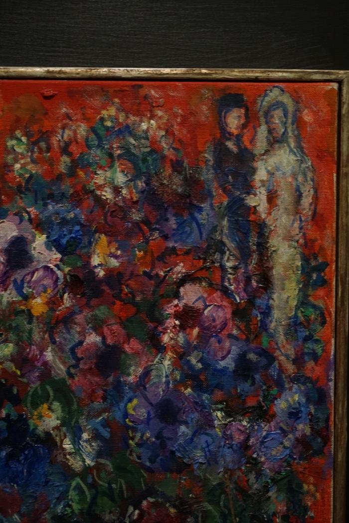 夏加尔《红色背景的花束》局部