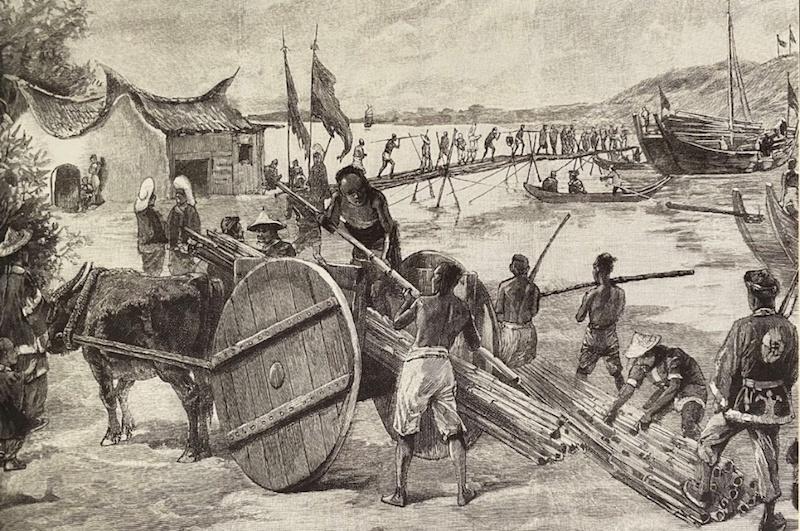 驻守台湾的黑旗军在搭建竹桥