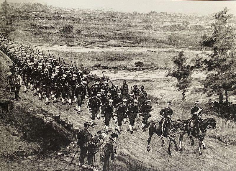 日军开赴登船港口。根据日本海军前顾问,英国皇家海军英格斯上校提供的照片绘制