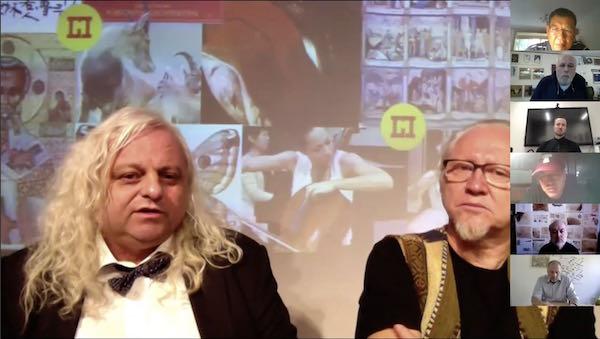 论坛现场,列支敦士登国家博物馆馆长雷诺·沃康摩尔博士(左)进行在线主旨发言。
