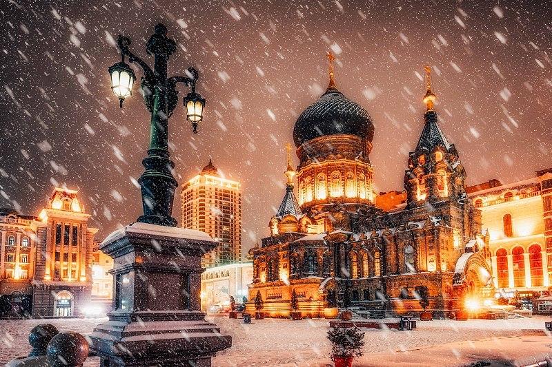 雪中的圣索菲亚大教堂