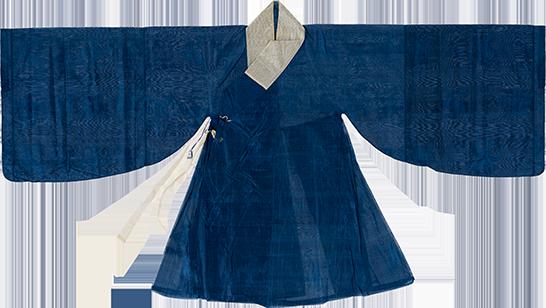 蓝色暗花纱袍