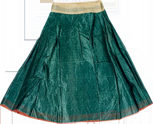 黑绿色暗花纱单裙