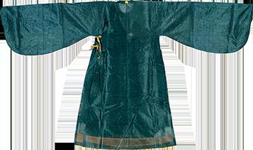 明代绿色素纱女袍
