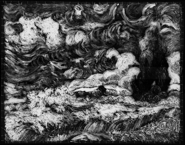 图6《麦田里的柏树》(写生版)X射线扫描
