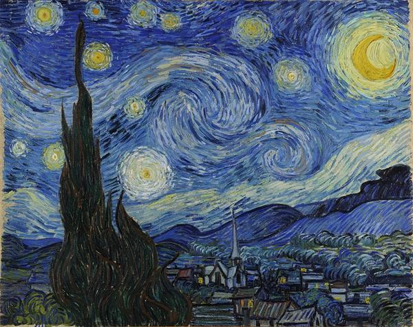 图10《星夜》,布面油画,73.7cm×92.1cm,1889年6月,美国纽约现代美术馆