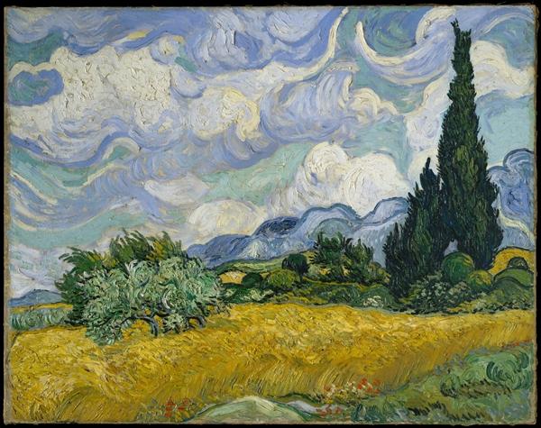 图 1 《麦田里的柏树》(写生版),1889年6月下旬,布面油画,73.2cm×93.4cm,美国大都会博物馆