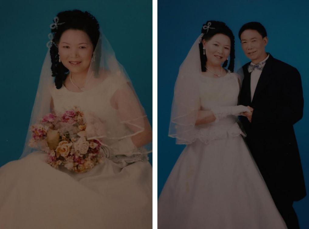 """爷爷奶奶在六十众岁拍的婚纱照。摄于幼区门口的""""阳光摄影"""",2007年"""