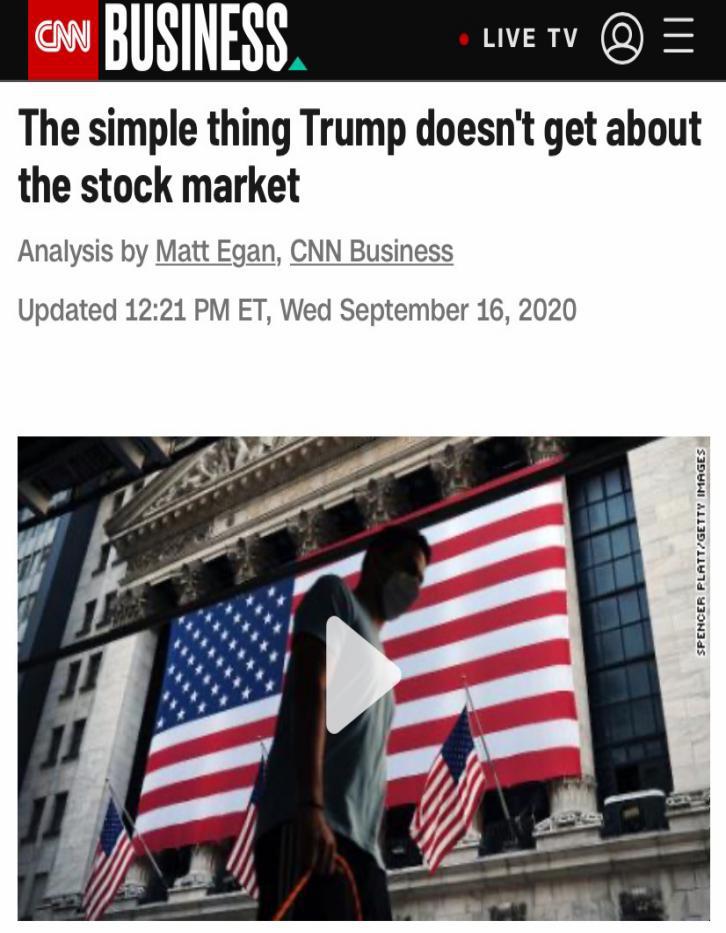 """CNN称,特朗普说""""股价上涨每幼吾都有份"""",但原形上,上千万美国人无法感受到股市的蓬勃"""