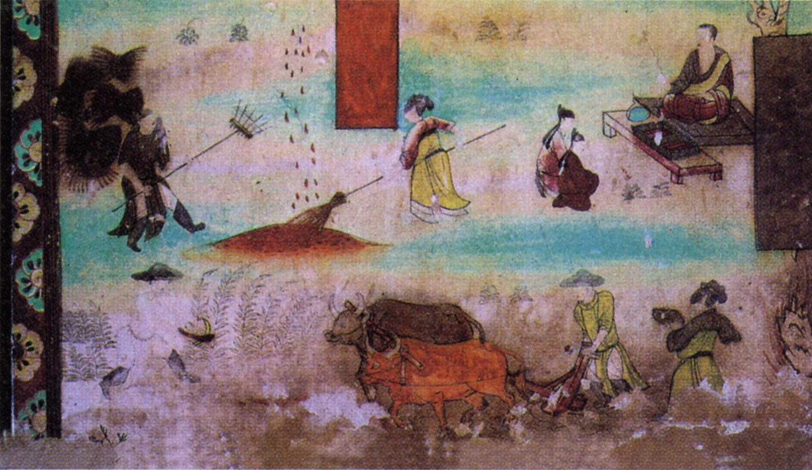 敦煌壁画《弥勒经变局部·农耕》。 视觉中国 资料图