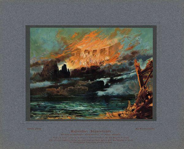 《诸神的黄昏》末尾,天宫在熊熊烈火之中燃烧,1894年马克斯·布鲁克内(Max Brückner)绘