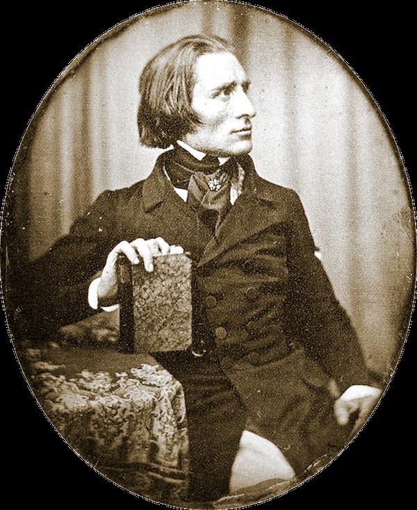 1843年的李斯特,此为李斯特存世最早的照片