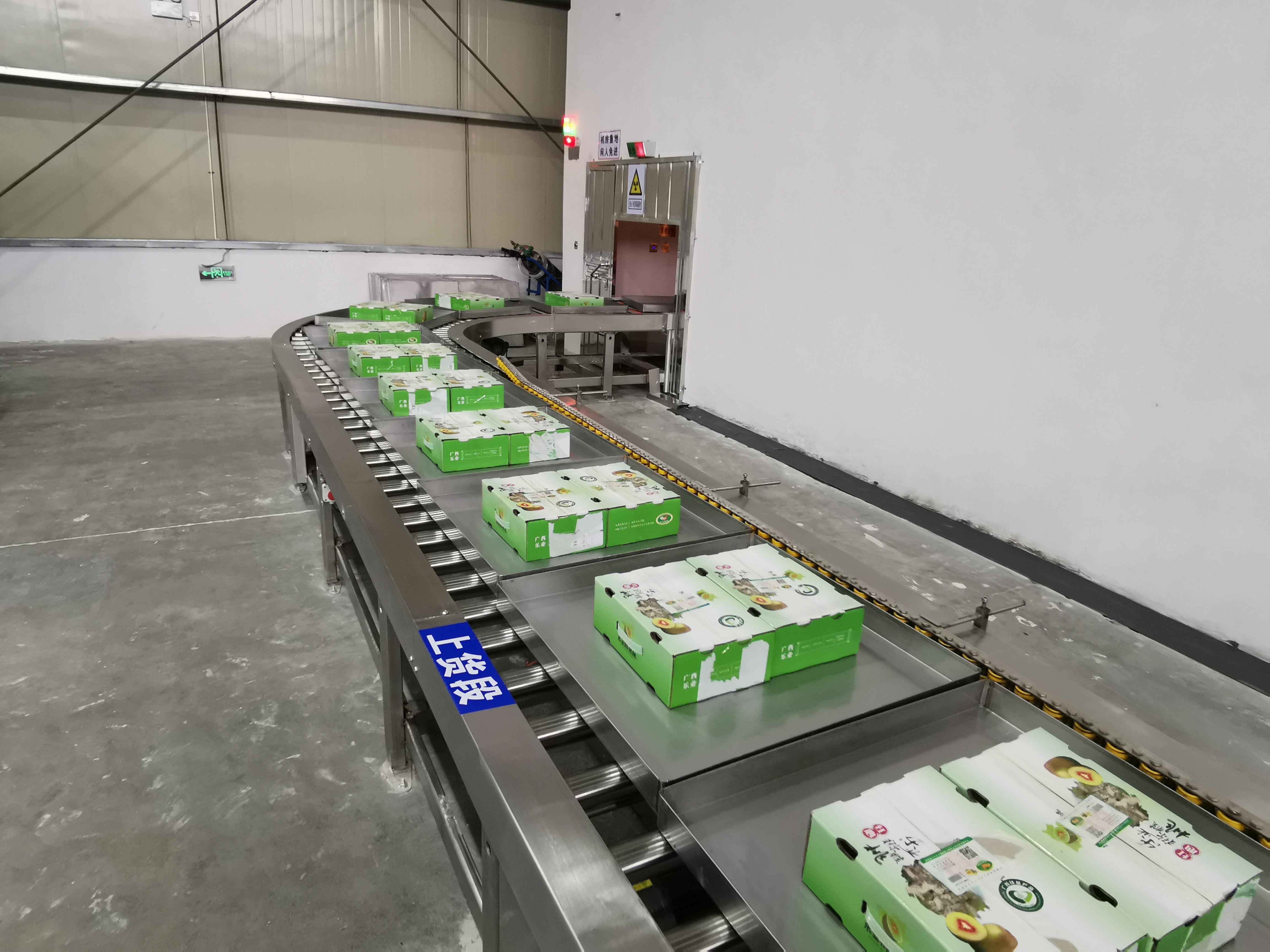 农产品经过束下传输编制送入辐照室