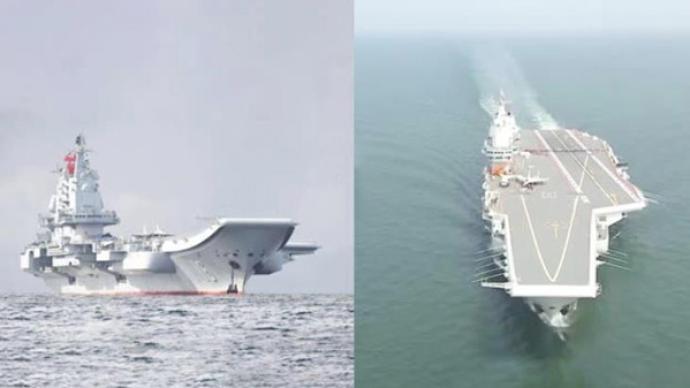 视频|辽宁舰和山东舰同时执行任务