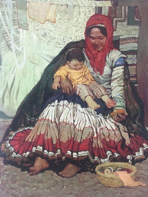 莫也 《母与子》布面油画 165x125cm 年代不详