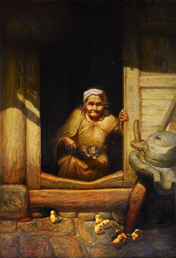 罗中立《岁月》 布面油画 205x140cm 1988年