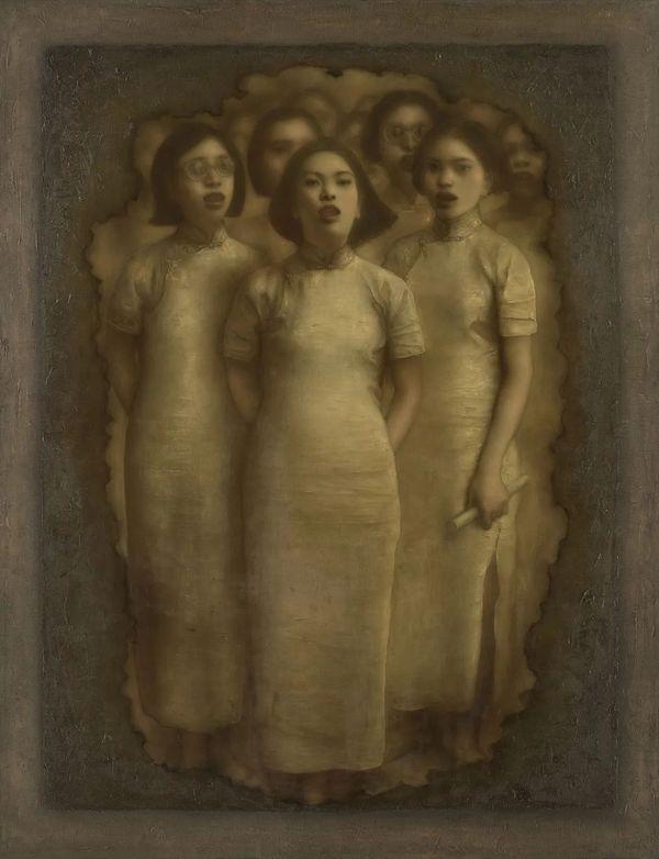 庞茂琨《穿越时间的呐喊》布面油画 150x115cm 1999年