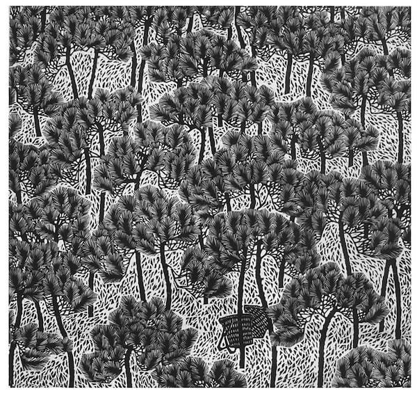 康宁《新松》 49×52cm 黑白木刻 1984年