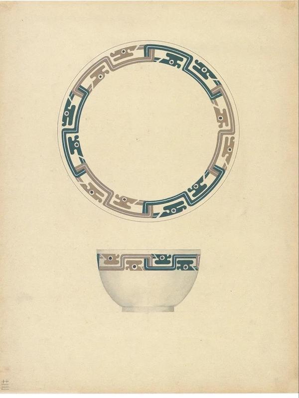 庞薰琹 《工艺美术集·饭碗及茶盘之一》 纸本 36.5cm×29cm 1941年