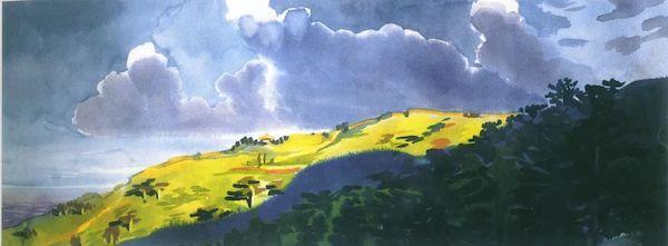 李有行《云涌高原》纸面水彩 23×62cm 20世纪50年代