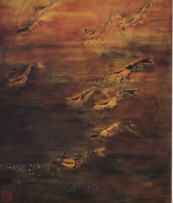 沈福文《虾》漆画 62×80cm 年代不详
