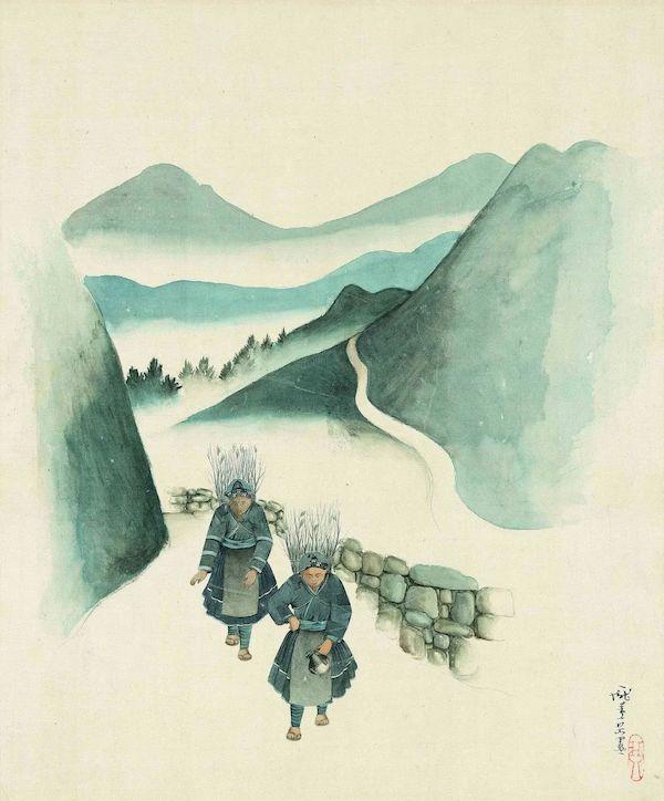 庞薰琹《卖柴》纸面水彩 40x33cm 20世纪40年代初