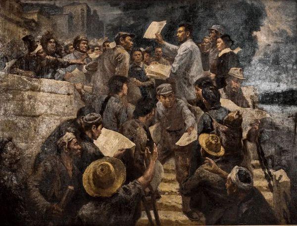 蔡振辉、王大同、夏培耀《震撼山河的檄文》布面油画 180×240cm 1977年