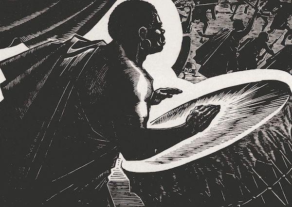 江敉《战鼓》黑白木刻 35x50cm 1962年
