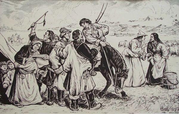 牛文 李少言《当和平解放西藏的消息传到康藏高原》 黑白木刻 50x32cm 20世纪50年代