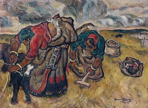 张晓刚《草原组画:暴雨将至》 纸本油画 83x110cm 1981年