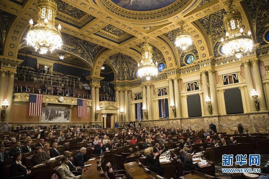 2016年12月19日,美国宾夕法尼亚州哈里斯堡拍摄的宾夕法尼亚州选举人投票现场。