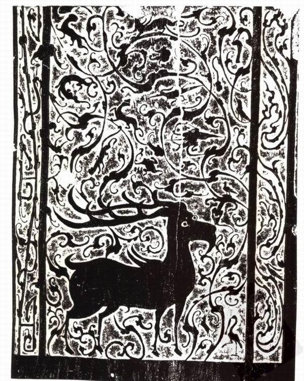 图8、9 绥德延家岔墓前室西壁左右画像石拓片