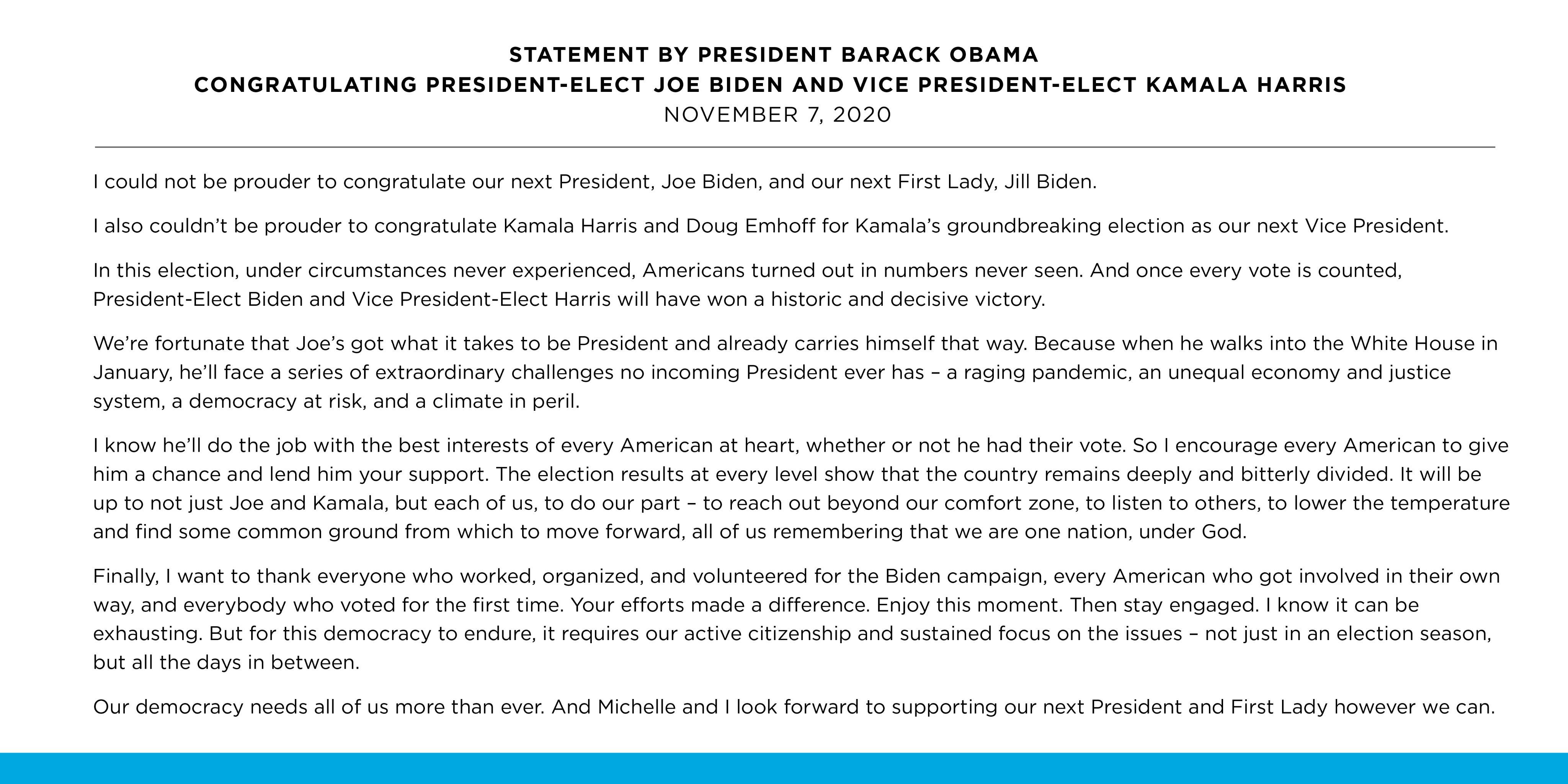 奧巴馬發文祝賀拜登和哈里斯勝選