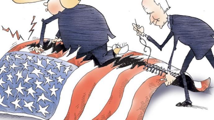 美国人说 普利策社论漫画奖得主:让分裂的美国重新团结很难