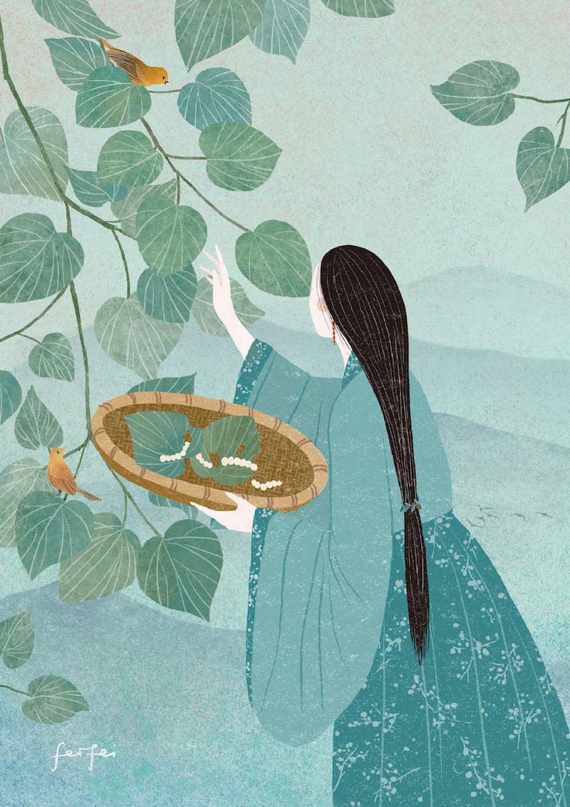刘海粟孬术馆铺厅,鲜菲菲《中国神话之嫘祖尾蚕》,数码画画,2020
