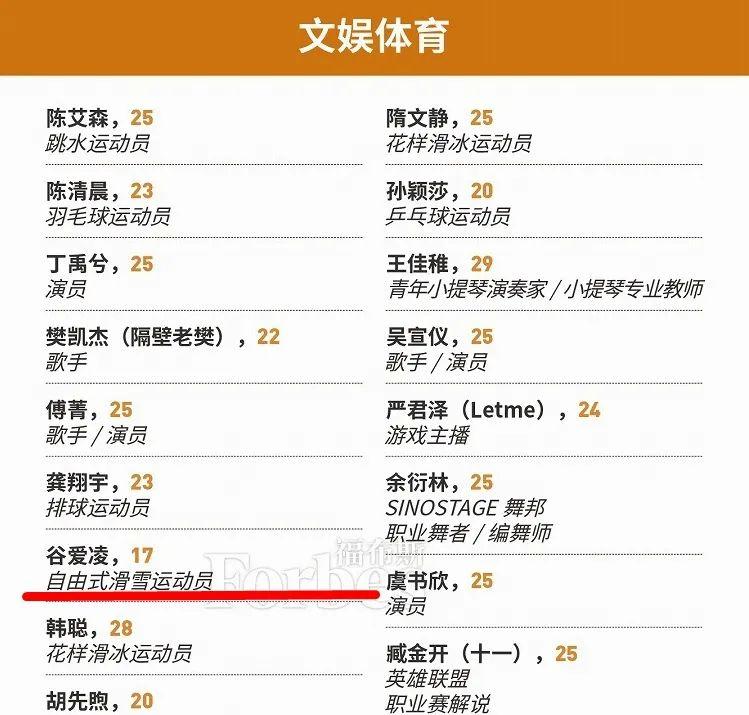 福布斯中国榜单截图。