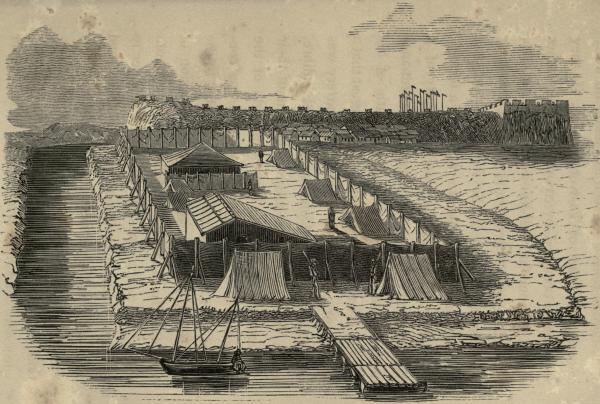琦善和义律见面的营地,E. T. Wigan绘,载约翰·奥克特洛尼(John Ouchterlony)著《中国战争》(<em>The Chinese War</em>),1844年出版。